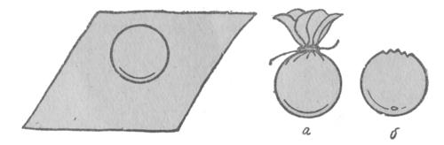 Изготовление цветочков ландыша: а - заготовка цветка ландыша, б - срезка материи на готовом цветке