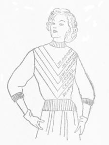 Женский вязаный спицами джемпер с цветными полосами углом