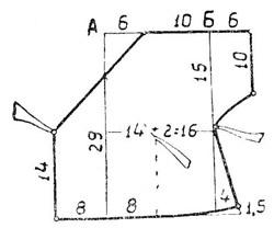 Выкройка полочки распашонки с полузаносом