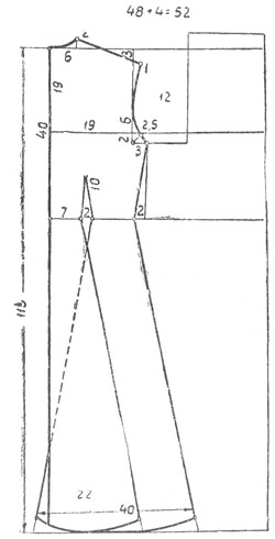 Выкройка спинки платья с цельнокроеным воротником